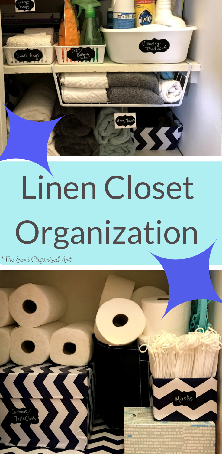 Real life organization for a small linen closet. Before and after pictures included!