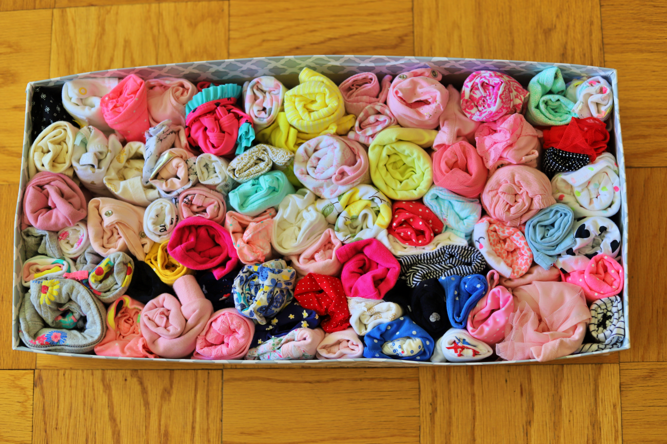 a cheap way to organize and store outgrown baby cloth