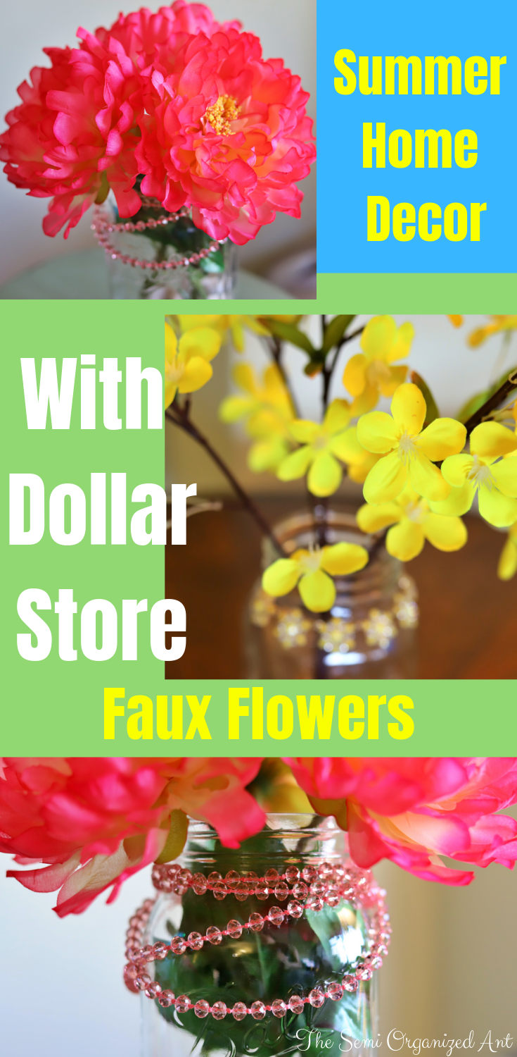 3 Quick and Easy Summer Home Decor Ideas Using Mason Jars and Faux Flowers - The Semi Organized Ant