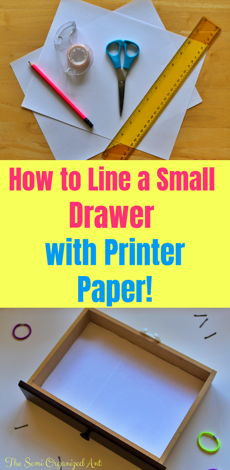 How to Line a Small Drawer with Printer Paper - The Semi Organized Ant