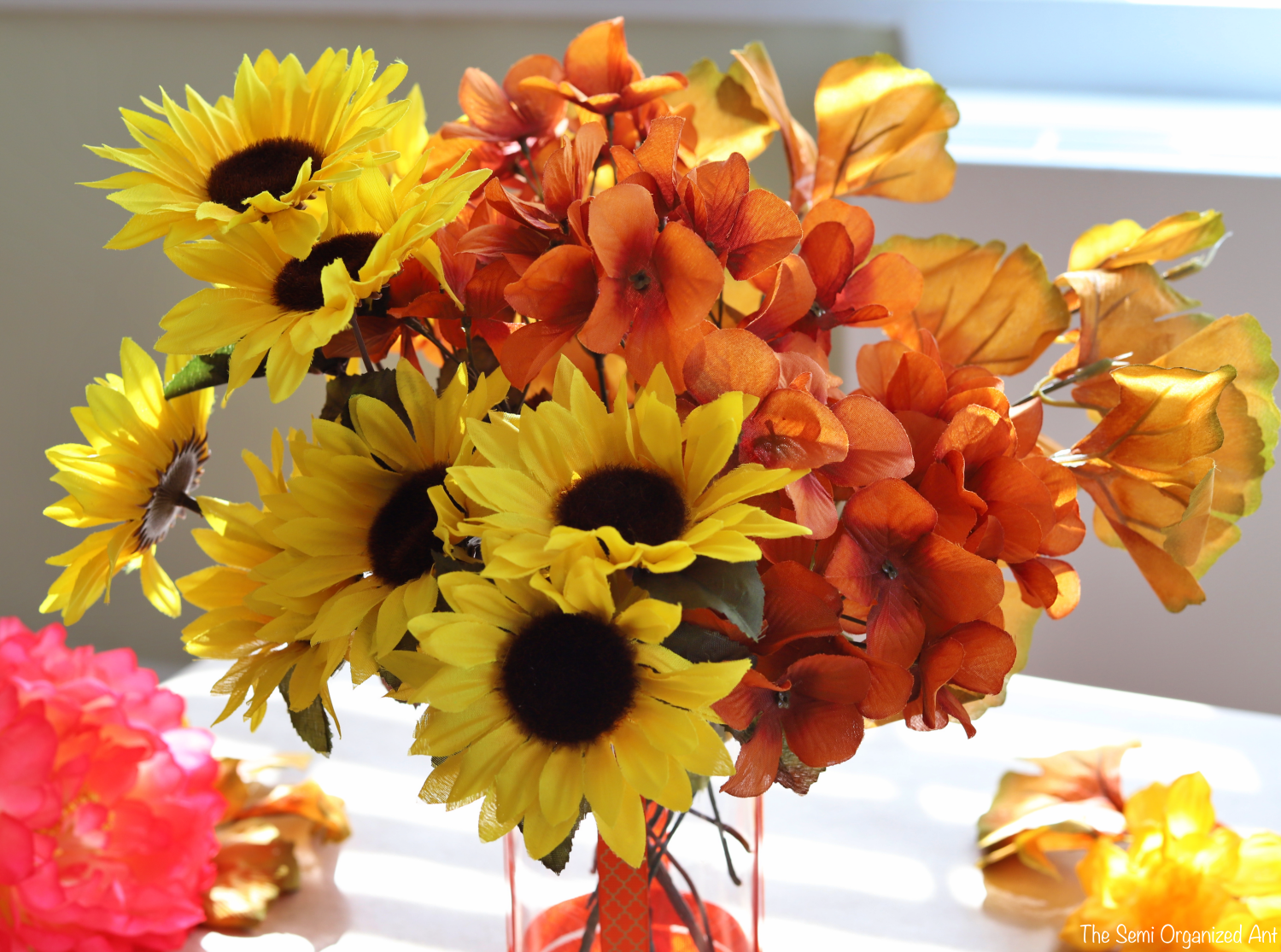 Combining Dollar Tree Flowers with Items I Already Have for the Perfect Fall Centerpiece -The Semi Organized Ant