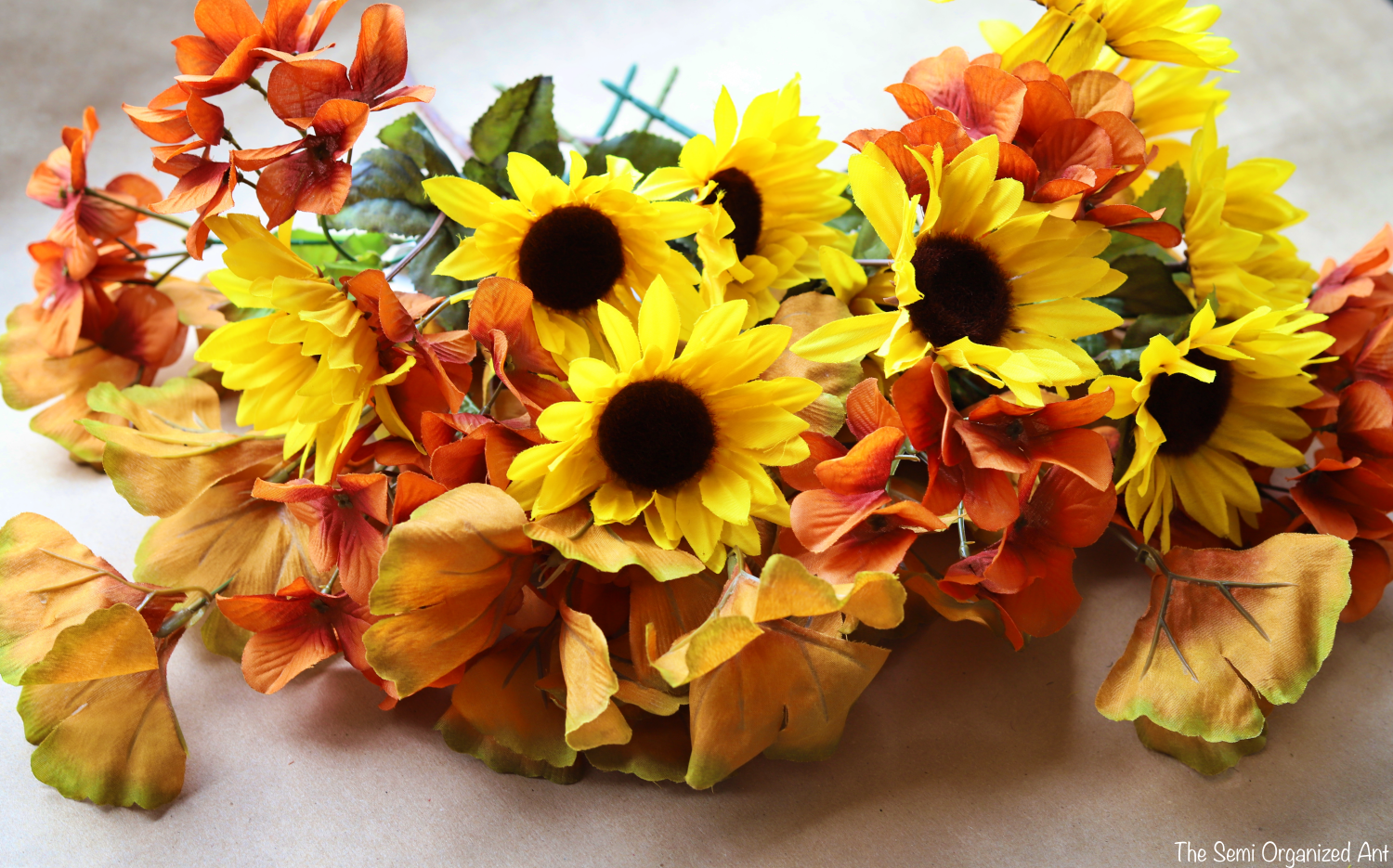 Combining Dollar Tree Flowers with Items I Already Have for the Perfect Fall Centerpiece-The Semi Organized Ant