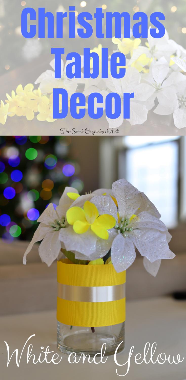 Christmas Table Decor (White and Yellow)