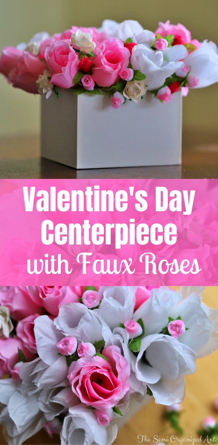 Valentine's Day Centerpiece with Faux Roses
