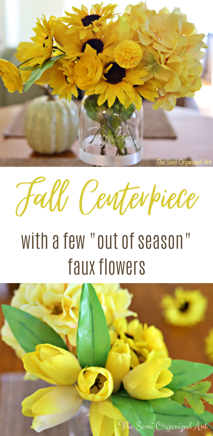 "Fall Centerpiece with a Few ""Out of Season"" Faux Flowers - The Semi Organized Ant"