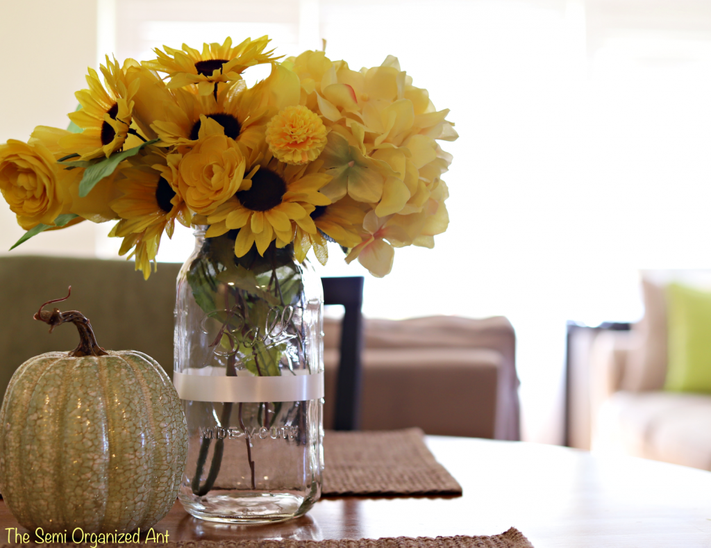 "Fall Centerpiece with a Few ""Out of Season"" Faux Flowers"