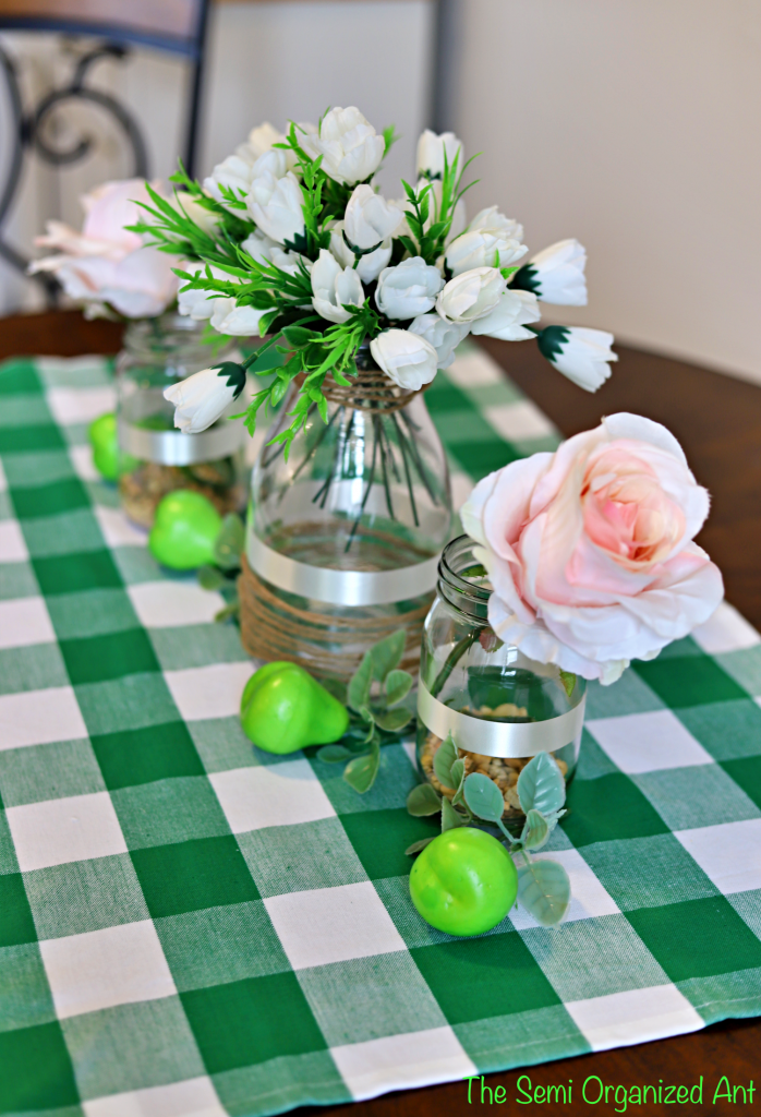 Fall Kitchen Table Decor – Pears and Plaid Green