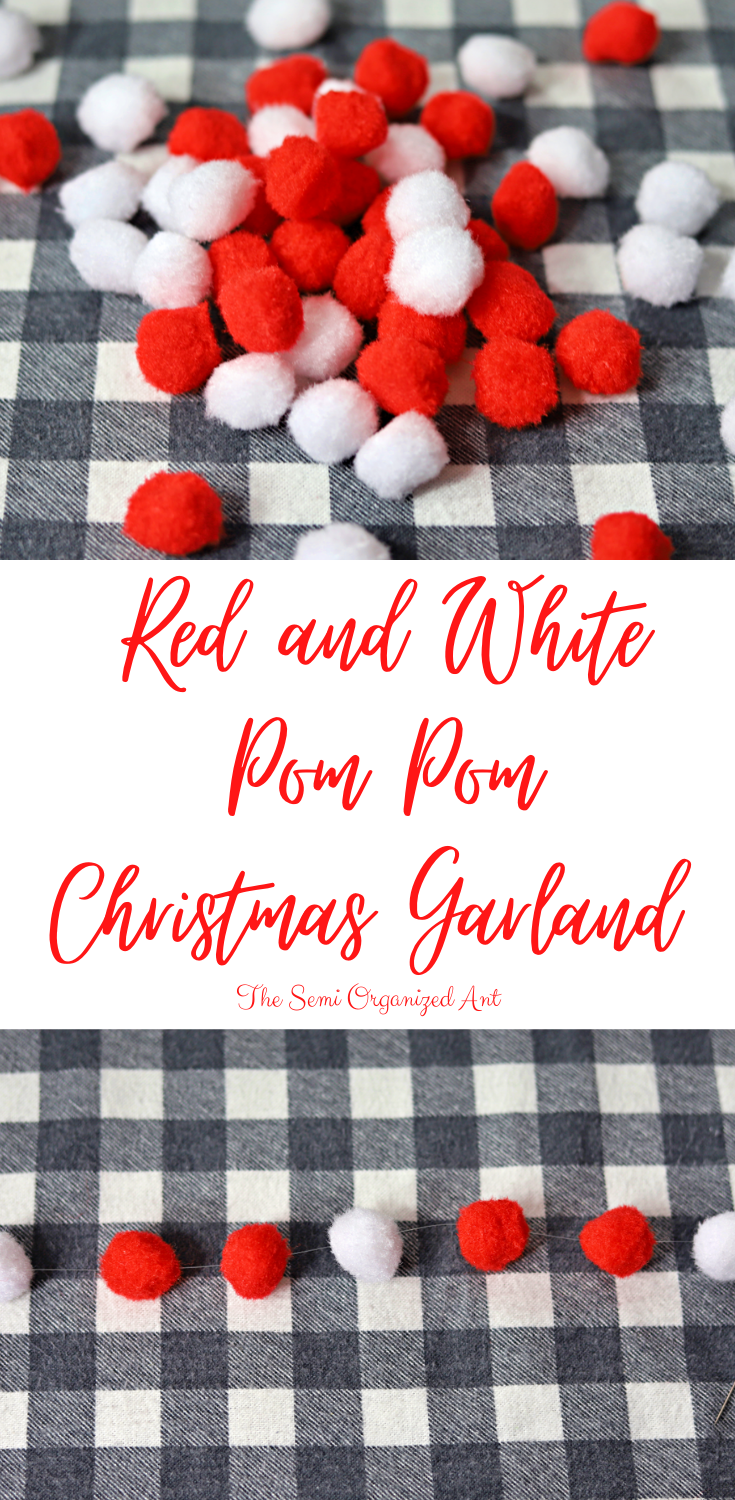 Red and White Pom Pom Christmas Garland - The Semi Organized Ant